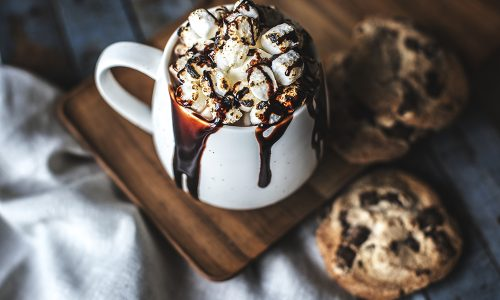 Hot chocolate drink with marshmallows
