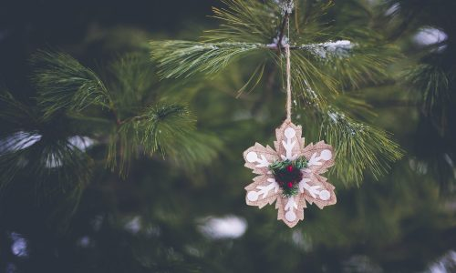 A closeup shot of a beautiful  snowflake-shaped ornament on the Christmas tree in winter